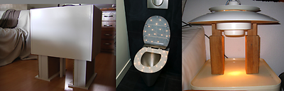 From left to right: TRIUMPH by Sander van Raemdonck; CONCEPTION toilet seat by Donné Noom; TÄFEL LIGTÄ by Elin Haitsma