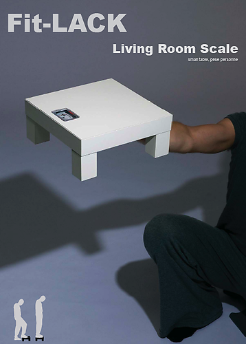 Fit LACK Living Room Scale: small table, pèse personne
