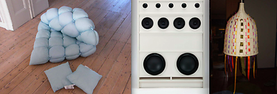 From left to right: EMMA by Heleen Lamorée; BILLY Boombox by Torsten Wemer; Remodeled lamp by Michele van Kooyk Snook