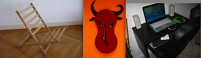 From left to right: Bedchair by Boris Wiasmitinow; Bullface by Joshua Wagner; Workstation by Kim Nusbaum